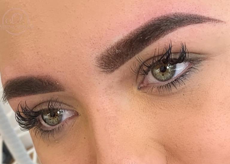 Lady with ombre eyebrow treatment